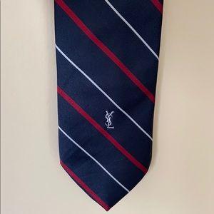 Yves Saint Laurent Navy Striped Tie